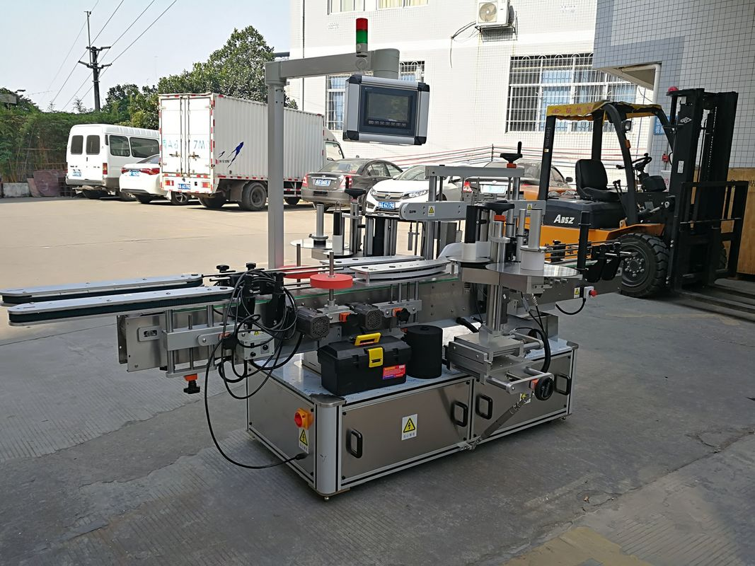 შამპუნის ბოთლის ორმაგი გვერდითი სტიკერების ეტიკეტირების მანქანა სრულად ავტომატური